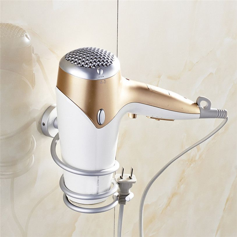 Wall Hair Dryer Rack Space Aluminum Bathroom Wall Holder Shelf Storage Quality First Clothing Shoes Jewelry Women Men Hats Watc May Sấy Toc Phong Tắm Kệ
