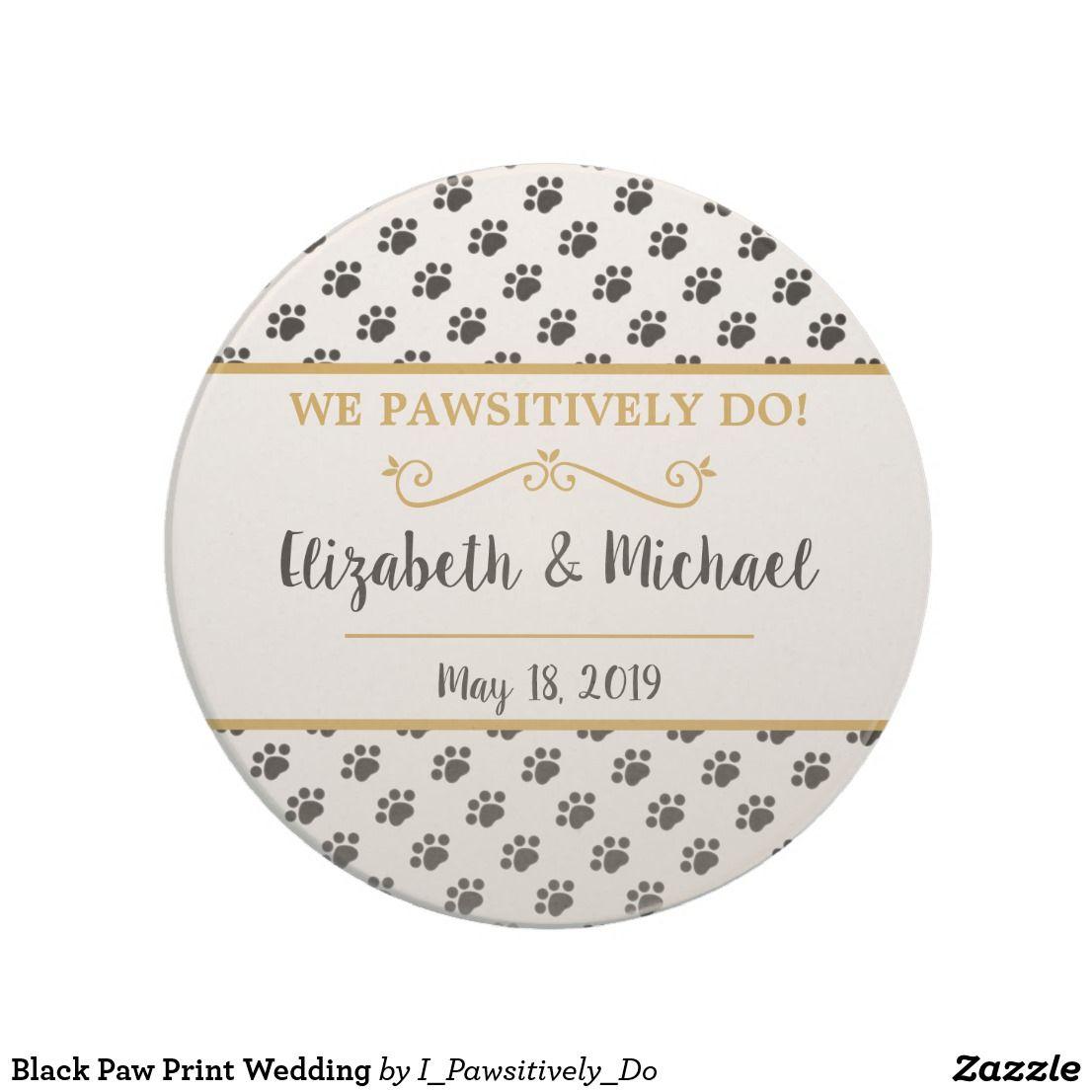Black Paw Print Wedding Coaster