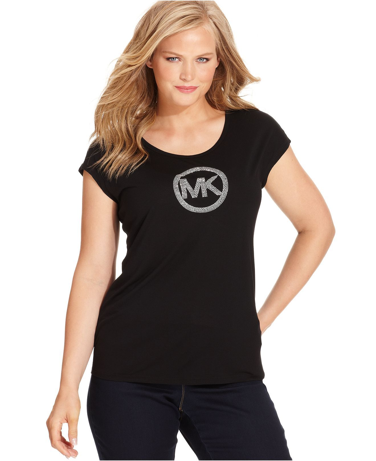 49b21589cfc MICHAEL Michael Kors Plus Size Short-Sleeve MK-Logo Tee - Plus Size Tops - Plus  Sizes - Macy s