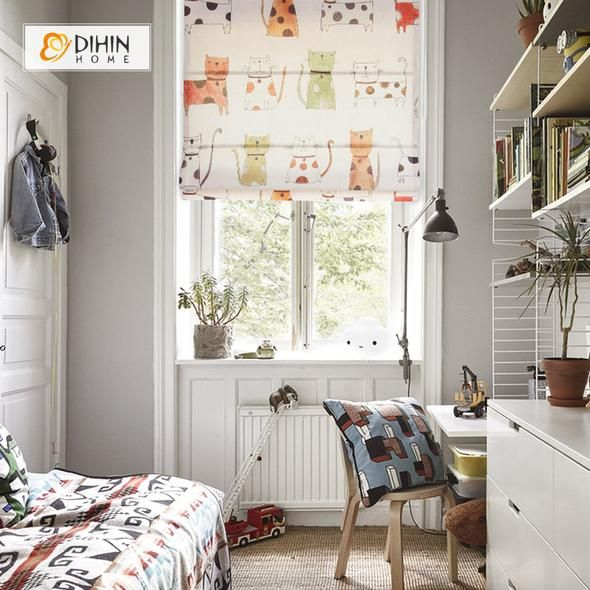 DIHIN HOME Colorful Cats Printed Roman Shades ,Easy