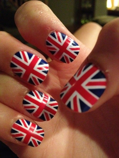 England flag nail art for 2014 world cup - British #2014 #England ...
