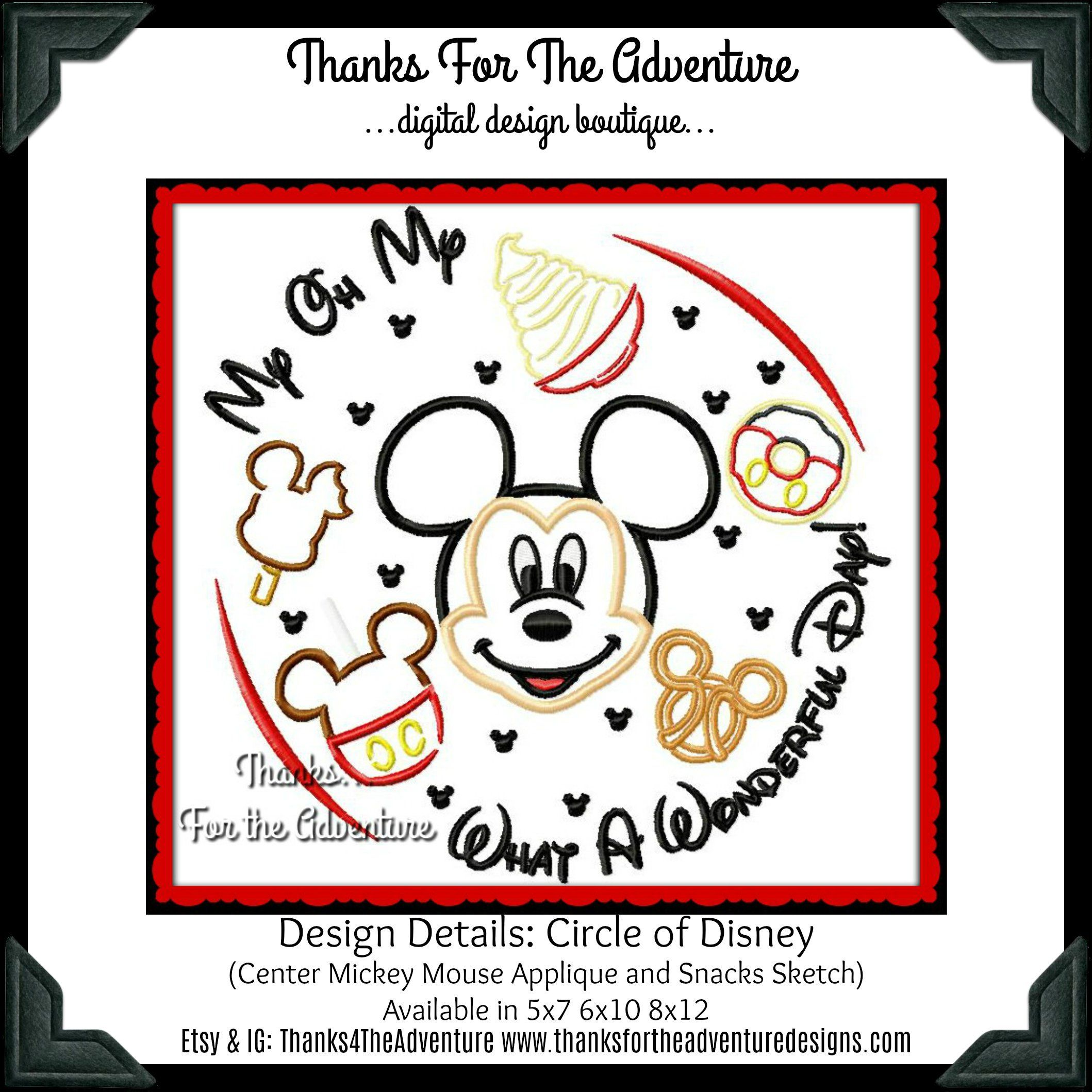 Mickey Mouse Disney World Disneyland Food Treats Snacks Circle of Disney Combo Digital Embroidery Machine Design File 5x7 6x10 8x12 #disneylandfood