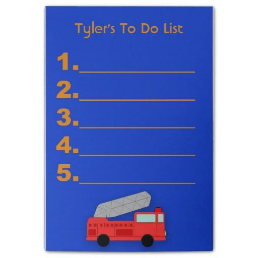 Red firetruck on blue Post it Notes.  Personalize with your own text. http://www.zazzle.com/alittlesticky
