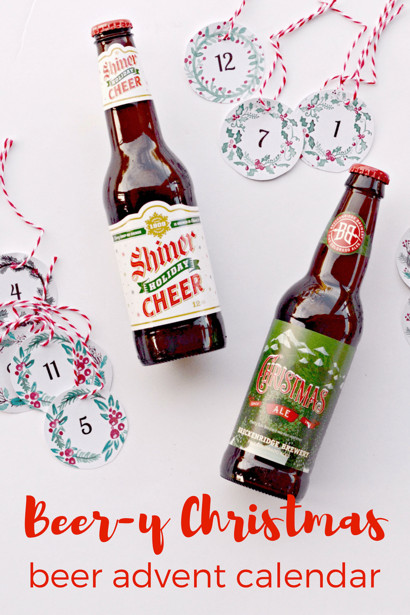 Beer Y Christmas Beer Advent Calendar Free Watercolor Printables To Make 12 Days Of Beer Or 24 Days Of Christmas Beer Diy Advent Calendar Beer Advent Calendar