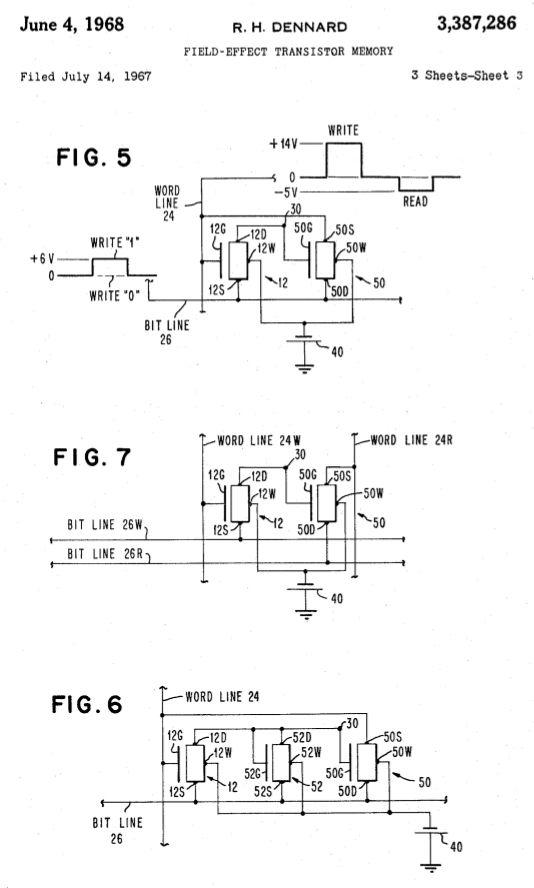 Robert Dennard, #patent, DRAM, Speicher, dynamic random access memory, mémoire dynamique à accès sélectif, 1967