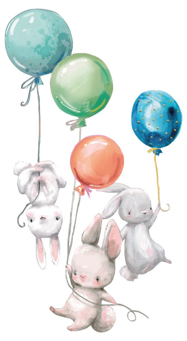 Wall Tattoo Nursery Bunny Bunnies Babies with Balloons wall Sticker Baby animals sweet animals baby Room sticker wall Decoration colorful