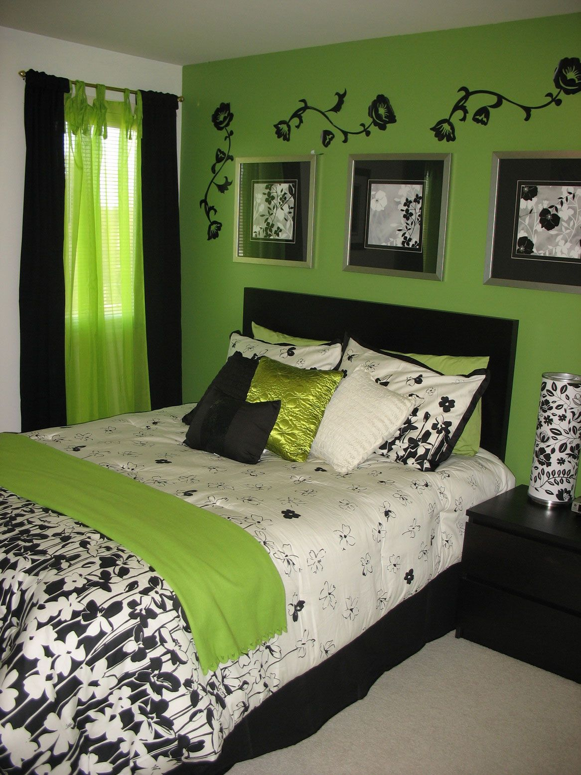 calming black and green themed bedroom design with beautiful black flower wall decal green - Green Bedroom Design