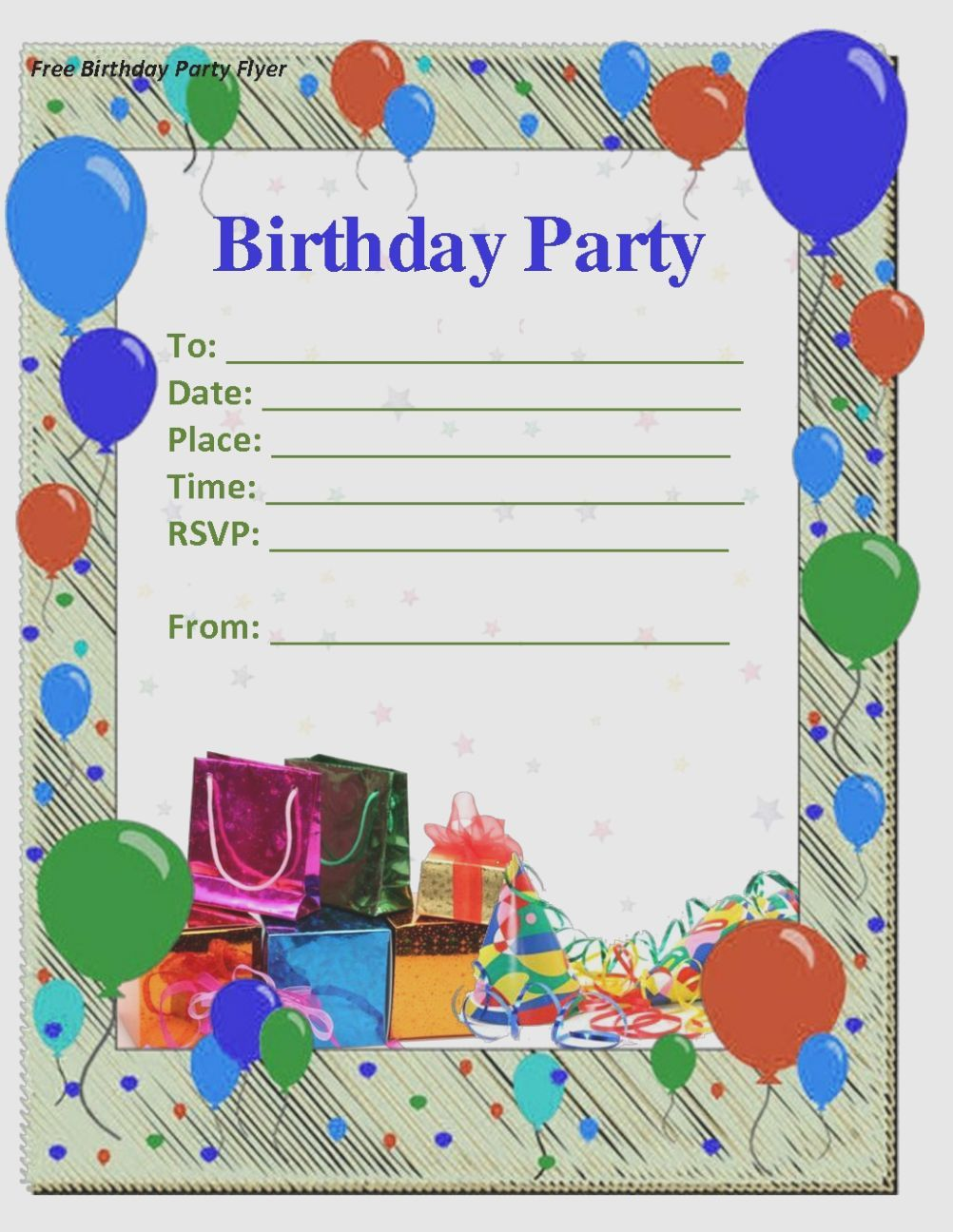 6 Editable Birthday Card Invitation, 6
