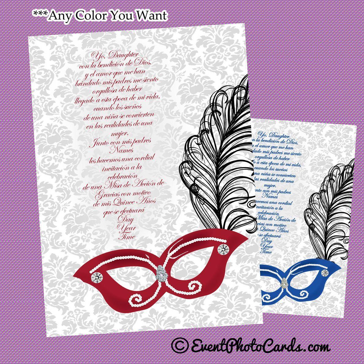 Red Elegant Masquerade Sweet 15 Invitations Phantom Of The
