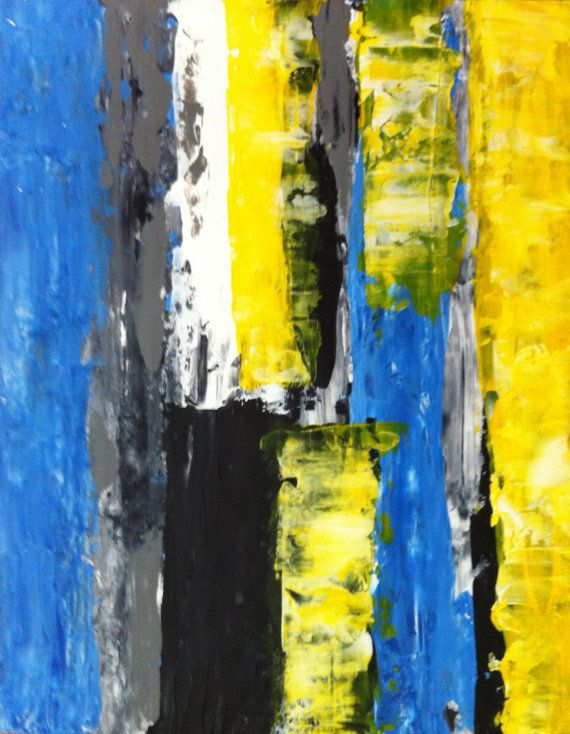 Acrylic Abstract Art Painting Yellow White Black Blue