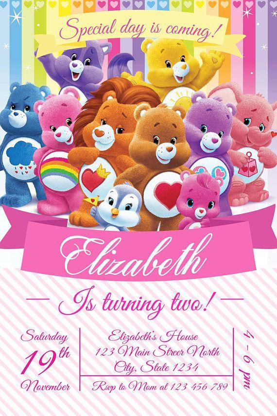 Care Bear Invitation Party Birthday