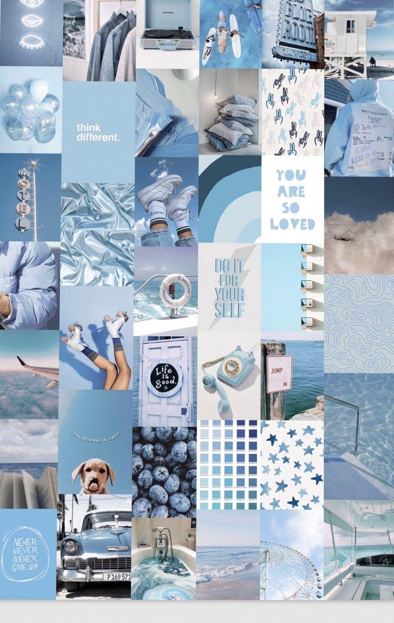 Ocean Blues Wall Collage Kit - DIGITAL ...