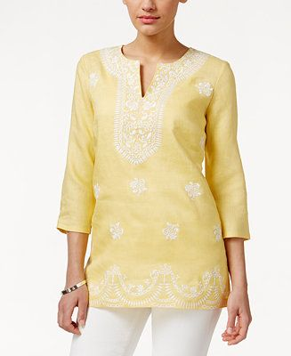 3e7ae467107 Charter Club Embroidered Linen Tunic, Only at Macy's - Tops - Women - Macy's