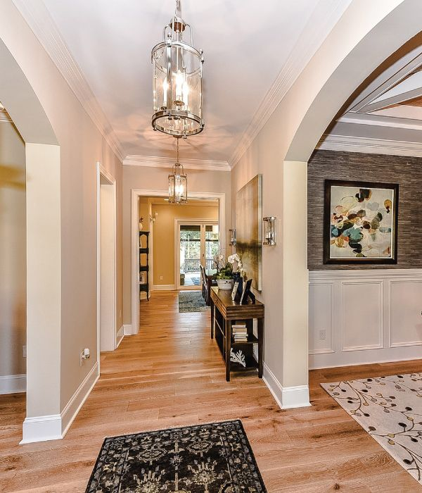 Providence Model Home Entryway Light Hardwood Floors And Chrome - Hardwood floors charlotte nc