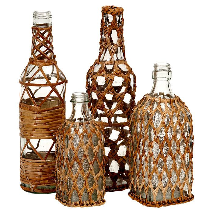 4-Piece Manitoba Rattan Bottle Set - Coastal Ease