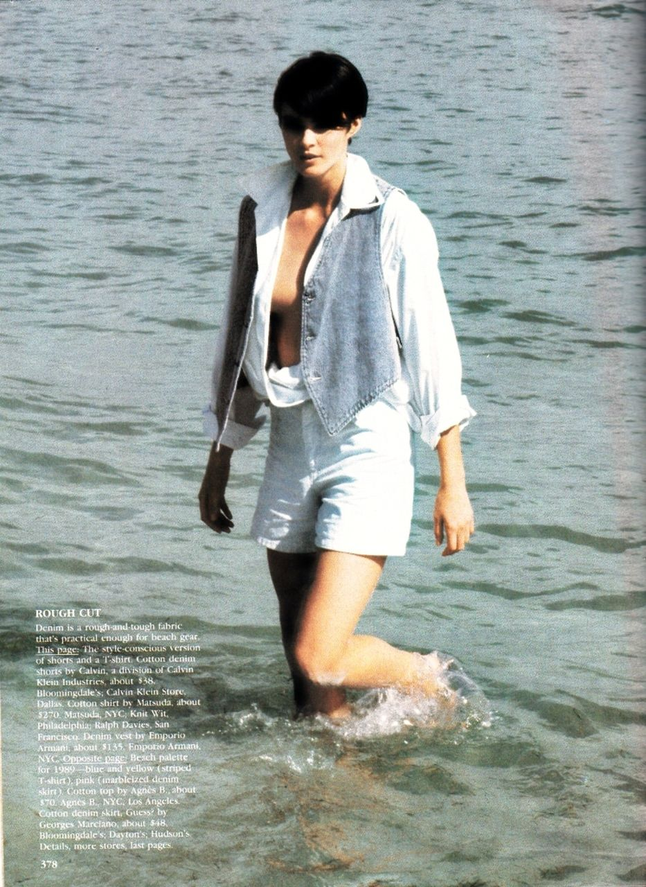 US Vogue May 1989 Beach Blues Ph: Ellen Von Unwerth Model: Claudia Schiffer; Unknown Fashion Editor: Jenny Capitain Hair: Giorgio Makeup: Giorgio