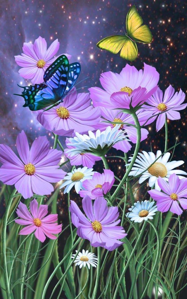 480x800 Oboi Poisk V Google Flower Painting Butterfly Wallpaper Flower Wallpaper