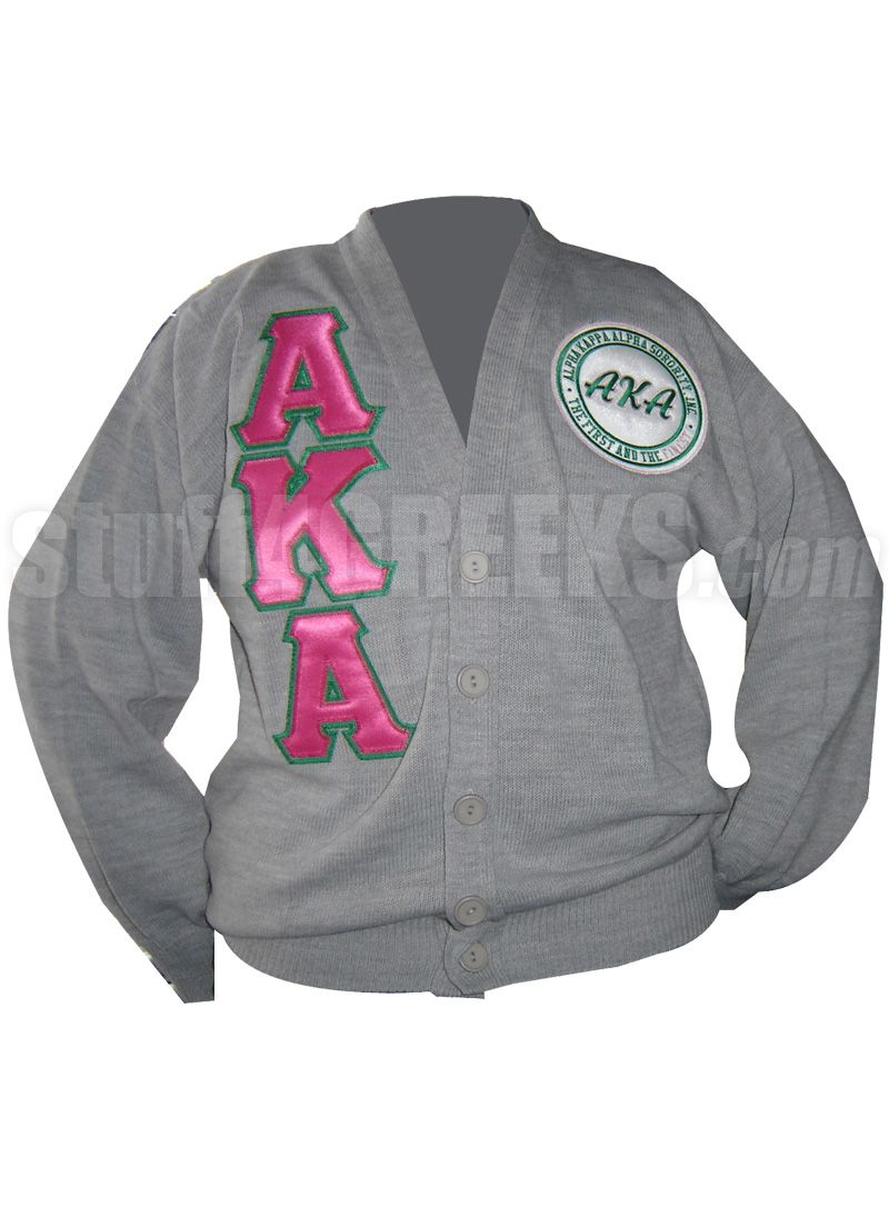 GRAY ALPHA KAPPA ALPHA CARDIGAN WITH HOT PINK LETTERS AND FIRST AND FINEST  PATCH Item Id  PRE-CSR-AKAFIRST-GRAY Price   129.00 eb9b4477f