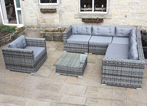 Luxury Grey Rattan Corner Sofa Set Conservatory Or Outdoor
