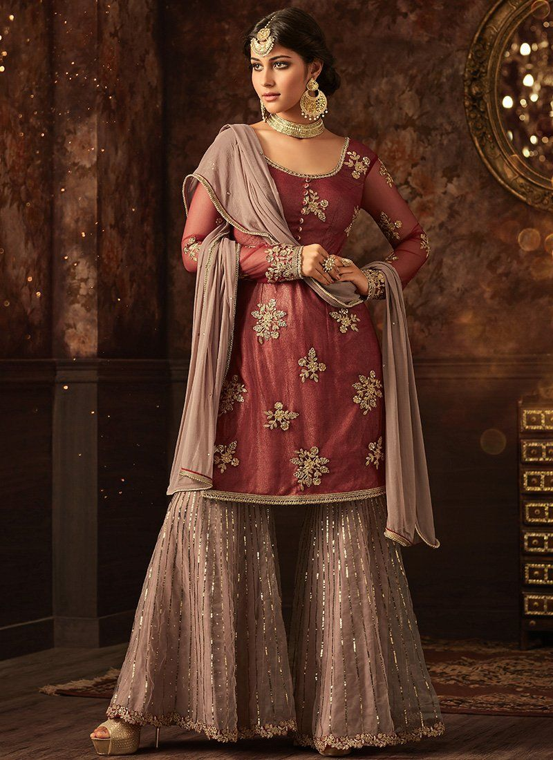 fd0e403810 A stunning Red Maisha Party Wear Sharara Suit Online. Net top with Santoon  Inner and Net bottom, Chiffon Dupatta. 100% Original Company Product with  the ...