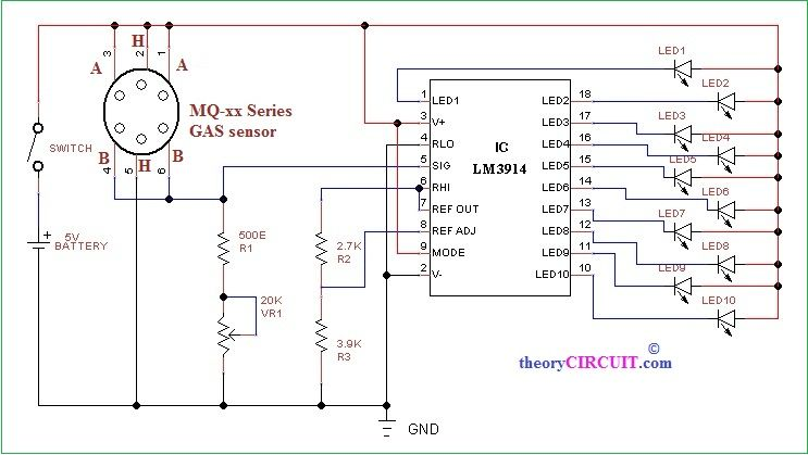 Mq Gas Sensor Application Circuit Diagram Sensor Circuit Diagram Gas Detector