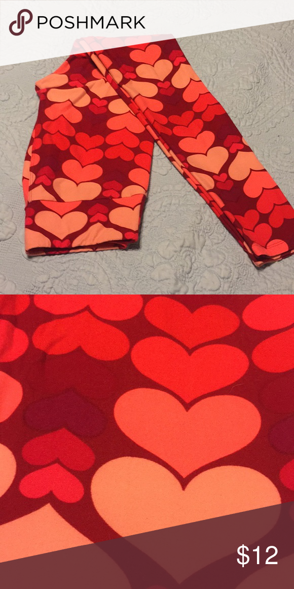 7784867bb2519b Lularoe Leggings OS Soft pink and red heart Leggings. Perfect for Valentines.  Only worn twice. LuLaRoe Pants Leggings