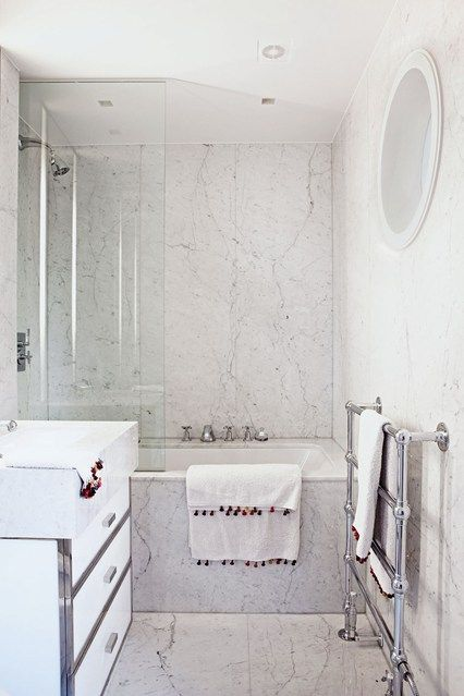 a small marble bathroom with bath shower combo clever ideas for small space storage solutions and furniture by house garden - Bathroom Ideas Marble