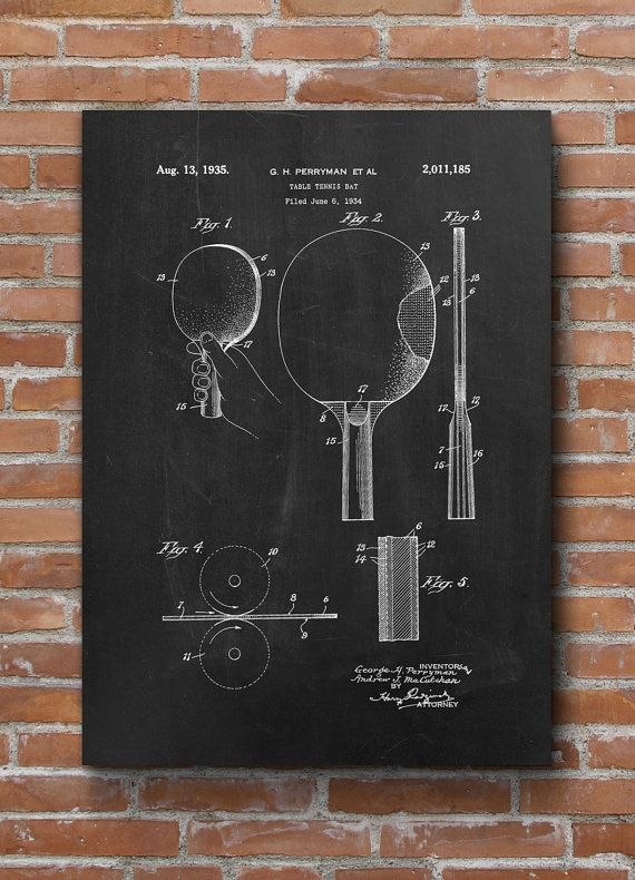 Table Tennis Bat Patent Poster Sport Decor By Dalumna