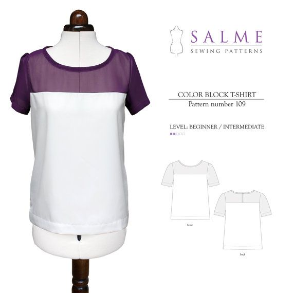 PDF Sewing pattern - Color Block T-shirt | Pinterest | Pdf sewing ...