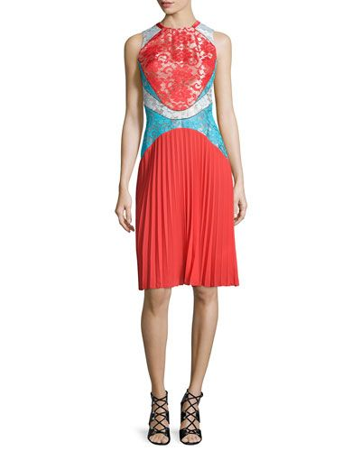 LASER CUT AND LACE: Sleeveless Pleated Lace Combo Dress, Red