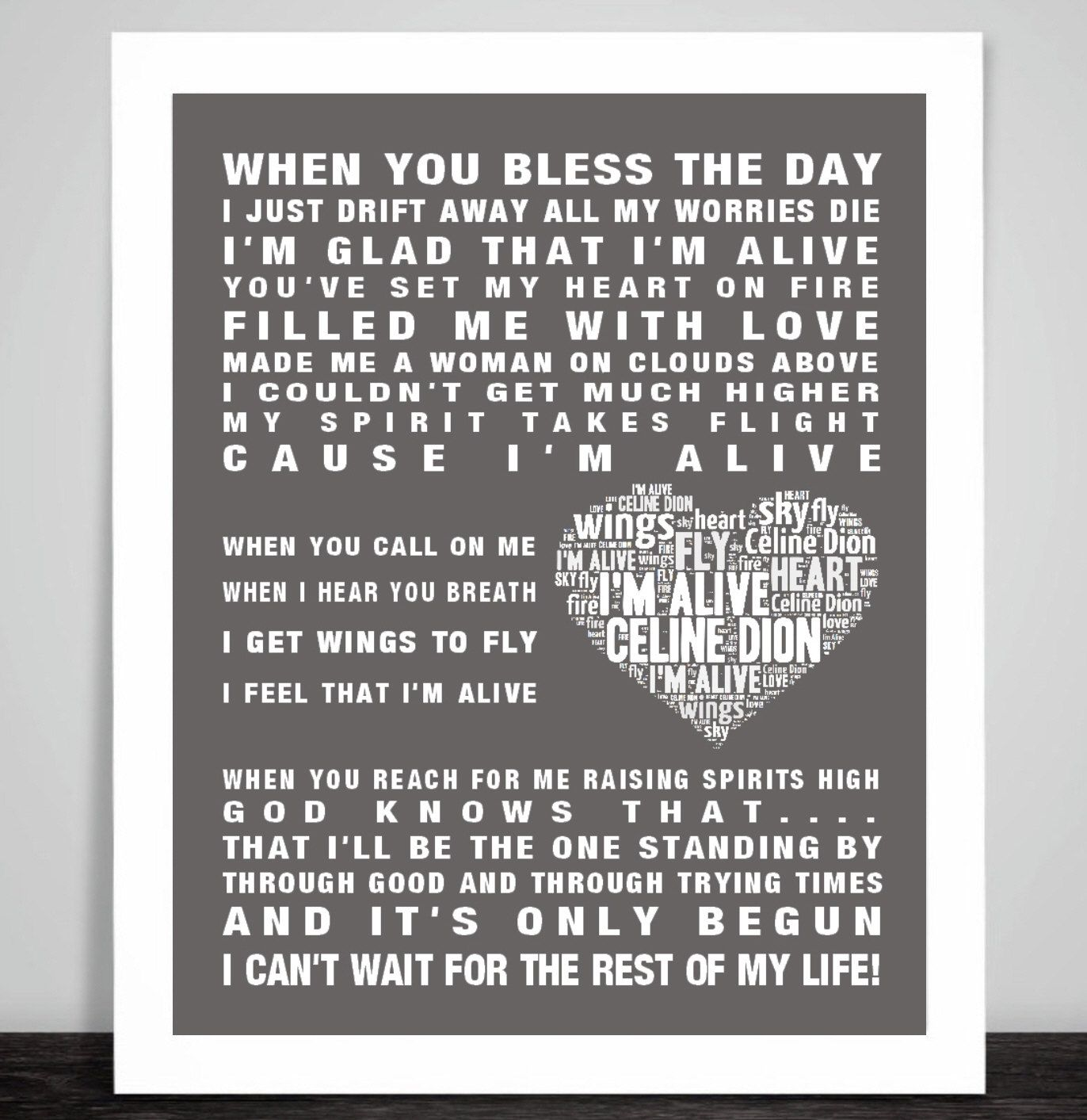 Celine Dion Music Song Lyrics Quot I 39 M Alive Quot Word Art Print Poster Wall Art Print Gift Framed Or Prin Celine Dion Love Songs Lyrics Art Print Gifts