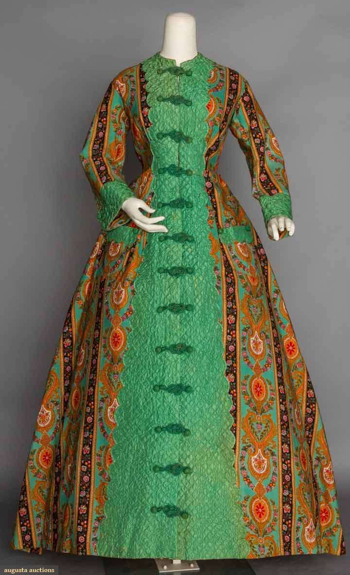Printed Wool Morning Robe, 1860s. This is almost certainly one of the infamous arsenic green dyes!