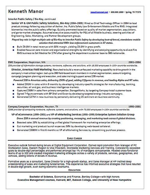 CEO   COO Technology Page 2 Resume Samples Pinterest - resume 1 page