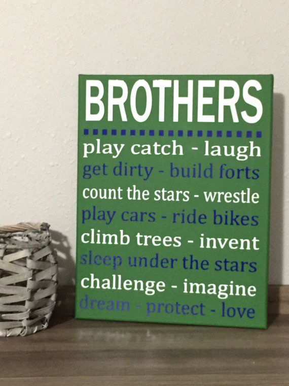 CUSTOM COLORS Brothers wall art, ready to hang canvas, boys room ...