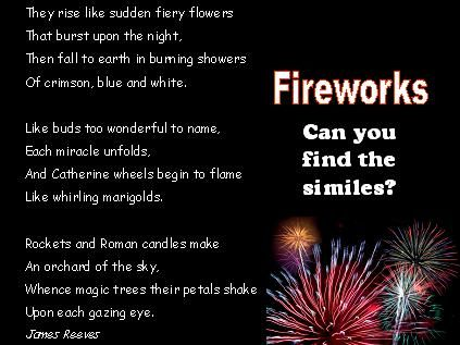 A great firework-themed shape poem by Wes Magee. | teach ...