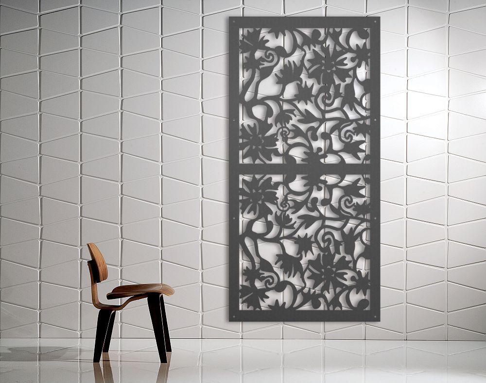 laser cut metal decorative screen 'floral garden' mild steel - 2.4