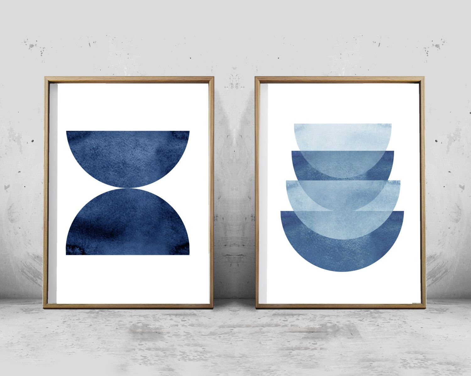 Indigo blue watercolor abstract prints set geometric art blue and white decor scandinavian posters large printable