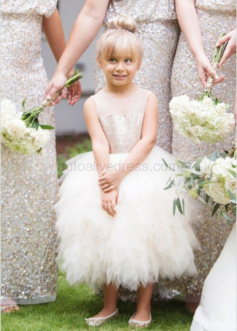 Sheer neckline champagne gold sequin ruffle tulle knee length sheer neckline champagne gold sequin ruffle tulle knee length flower girl dress ombrellifo Gallery