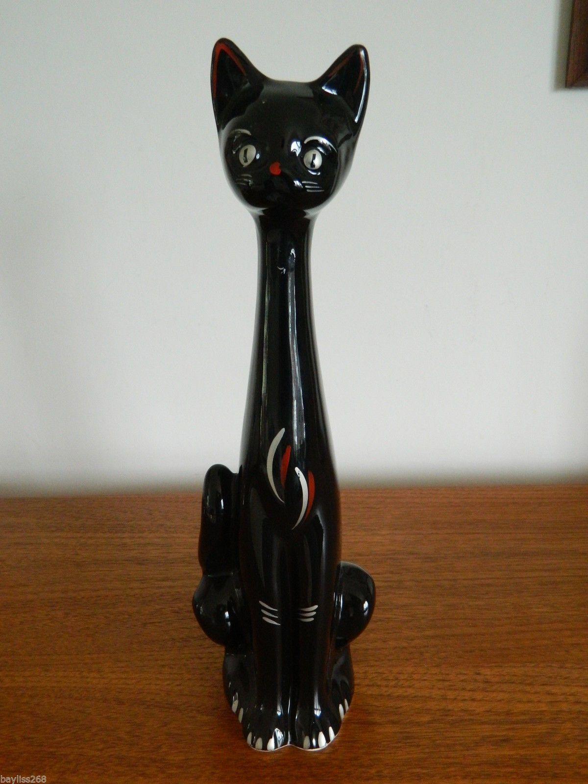 Vintage Ceramic Black Cat Vase Ornament Retro 60's Piece