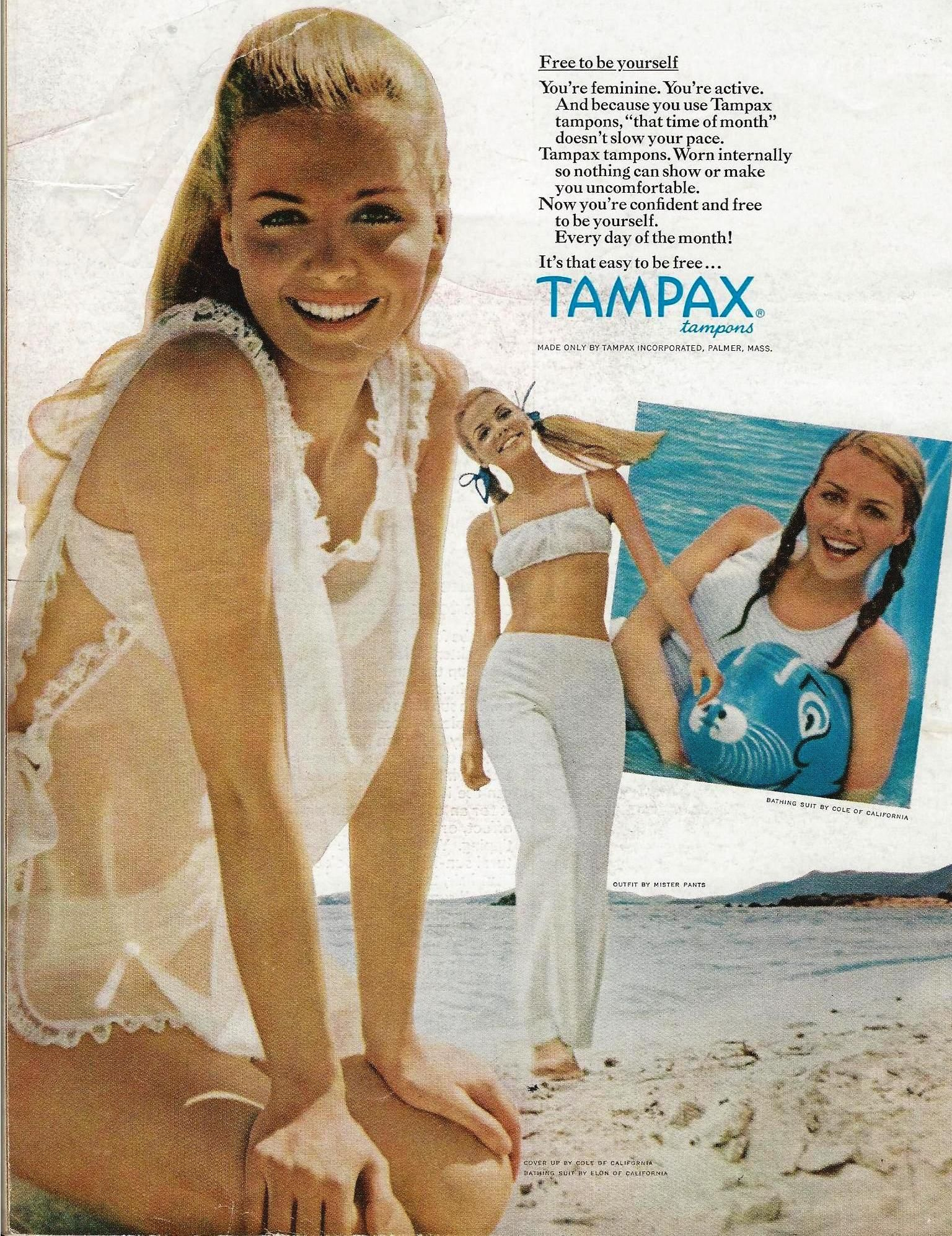 1977 Tampax Tampons Vintage PRINT AD Page Cute Girl Feminine Protection Advert