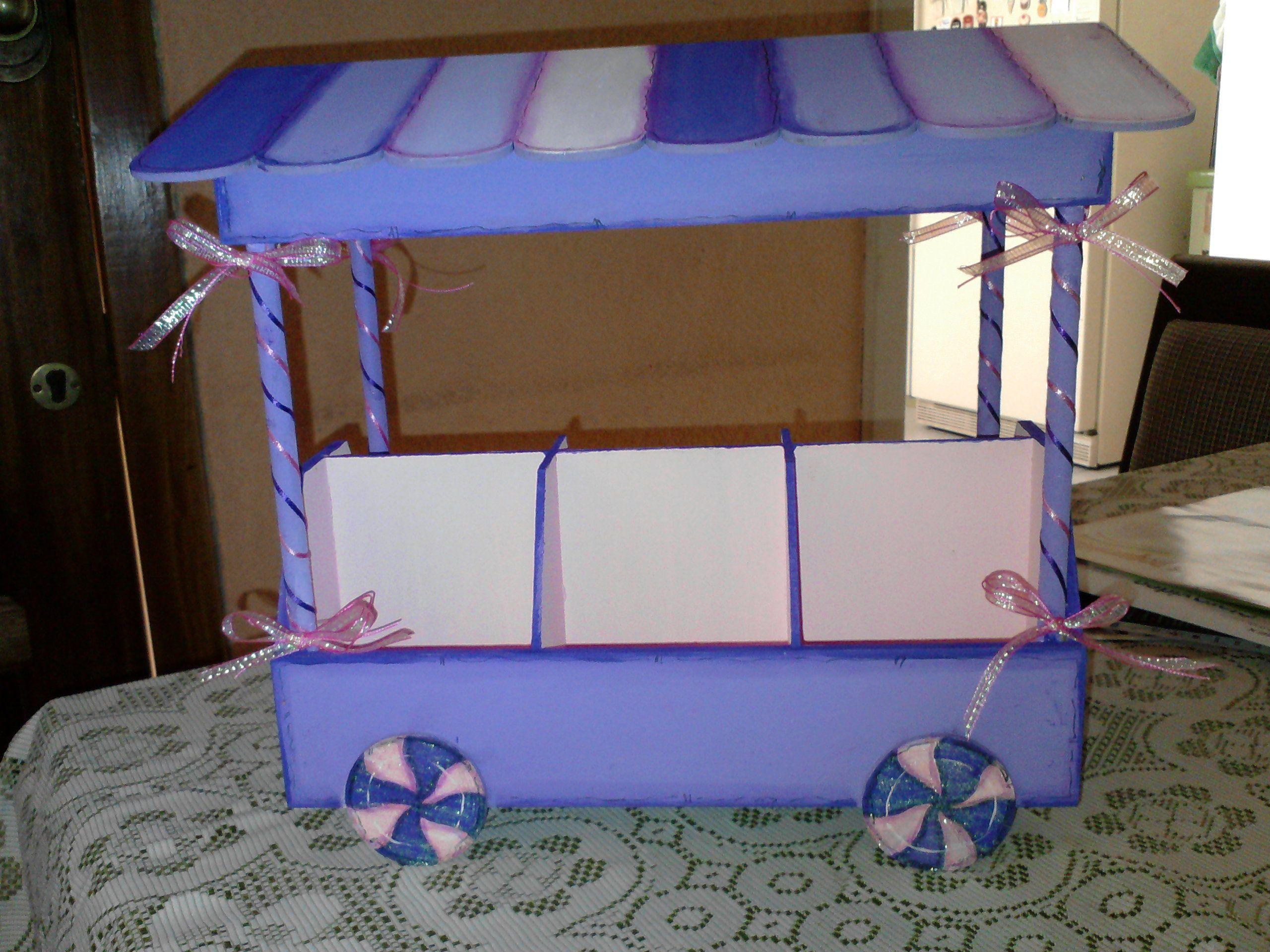 Carrito dulcero en madera country dulceros infantiles for Carrito bar de madera