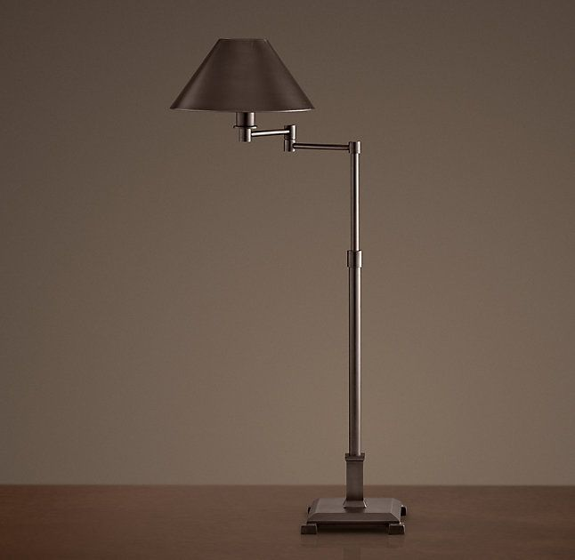 Petite Candlestick Swing Arm Table Lamp With Metal Shade Table Lamp Lamp Light Table