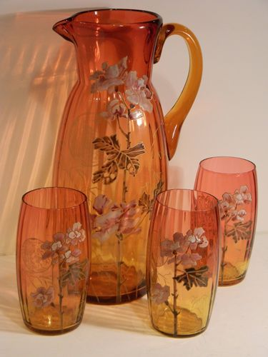 Victorian AMBERINA art glass MOSER Harrach-PITCHER,3 TUMBLERS  $850