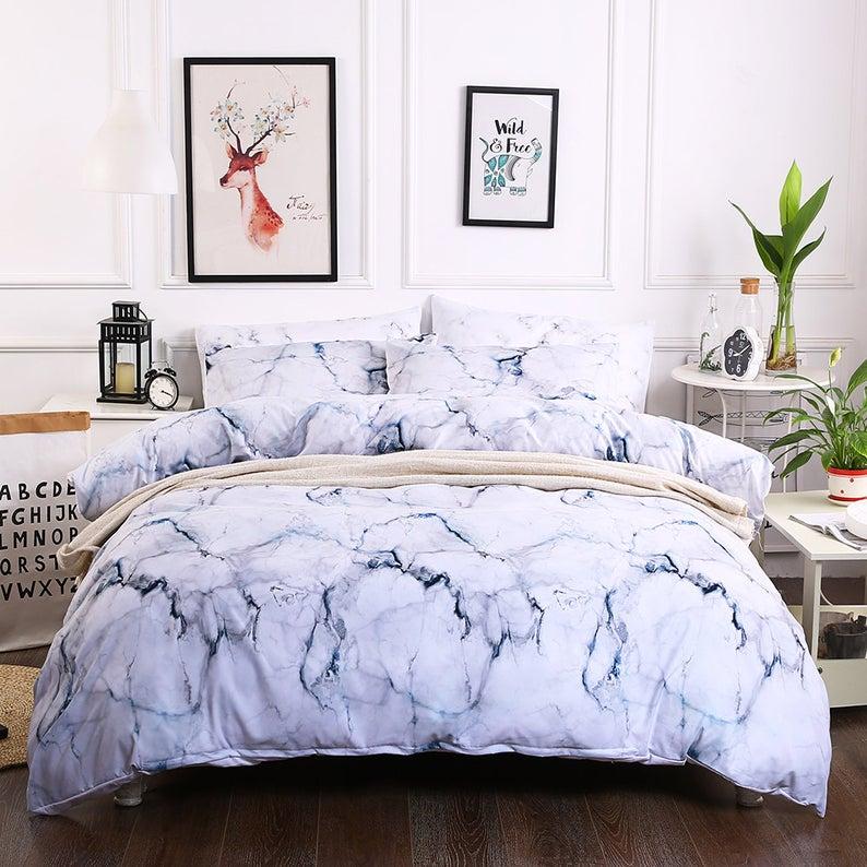 3d White Marble Bedding Set Quilt Cover Quilt Duvet Cover Etsy King Duvet Cover Sets Marble Bedding Set Bed Duvet Covers