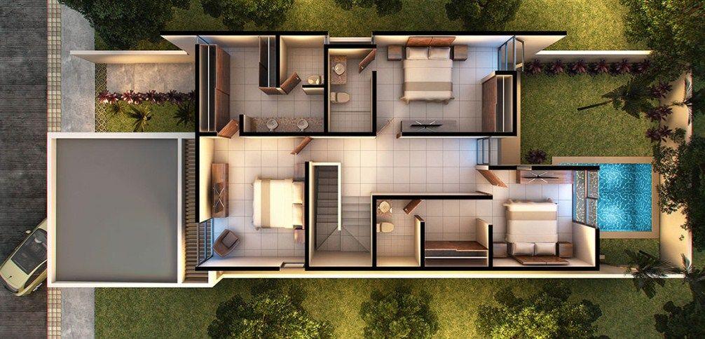 Plano de casa moderna de dos pisos proyectos que for Planos de casas modernas en 3d