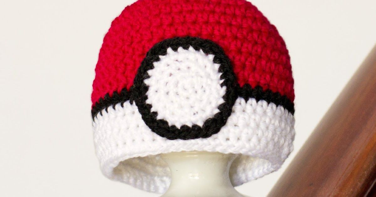 Pokémon Pokéball Inspired Baby Hat - Free Crochet Pattern