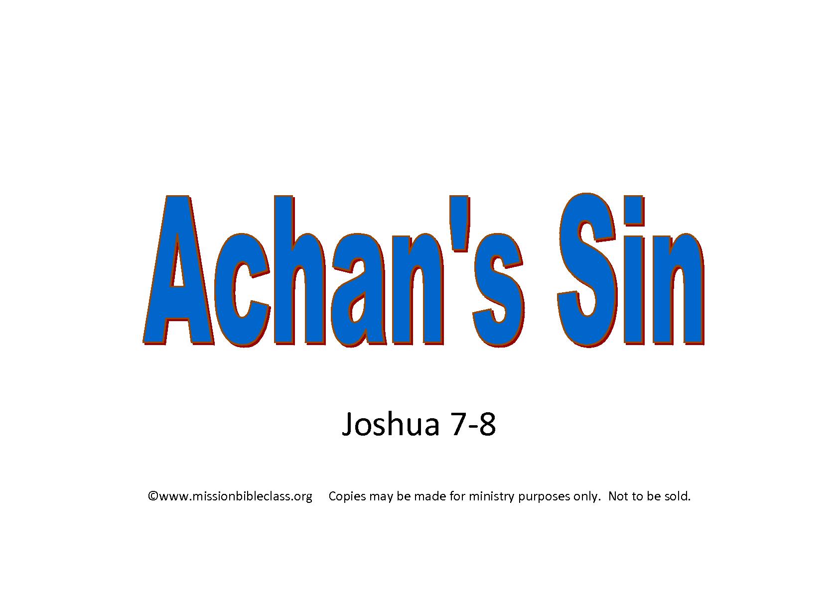 Achan S Sin