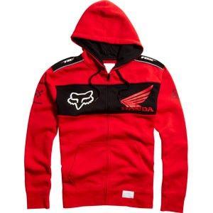 Fox Racing Honda Zip Hooded Sweatshirt Black Fox Racing Clothing Fox Racing Fox Clothing