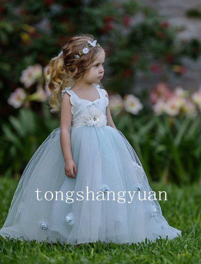 Ruffle Flower Girl Dresses Handmade Flowers Birthday Party Formal ...