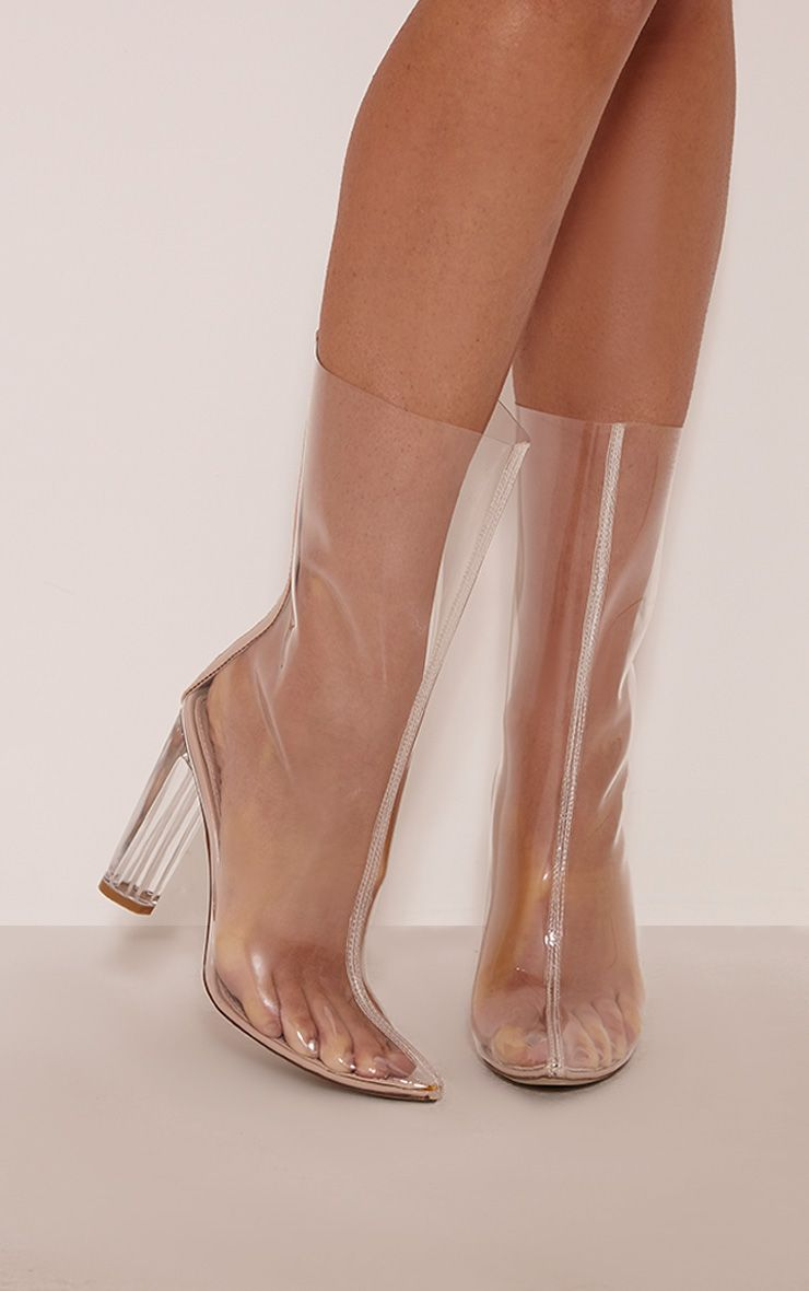 65a42a1bbde Zizi Clear Perspex Heeled Boots